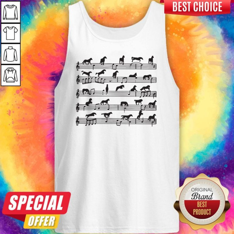 Awesome Horse Notes On Sheet Music Tank Top - Design By Earstees.com