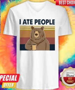 Funny Bear Drinking Coffee I Ate People Vintage V-neck