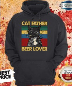 Funny Cat Father Smoking Beer Lover Vintage Retro Hoodie