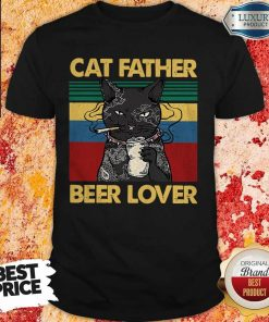 Funny Cat Father Smoking Beer Lover Vintage Retro Shirt