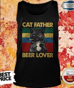 Funny Cat Father Smoking Beer Lover Vintage Retro Tank Top
