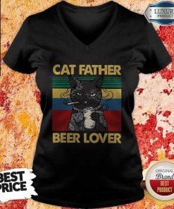 Funny Cat Father Smoking Beer Lover Vintage Retro V-neck