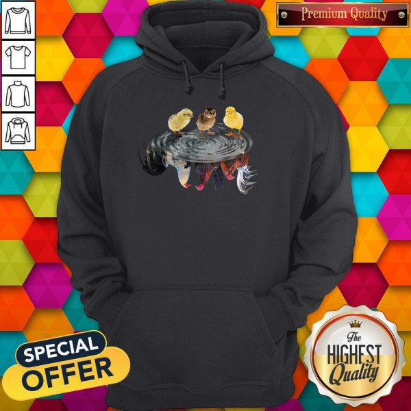 Funny Chicken Water Reflection Hoodie
