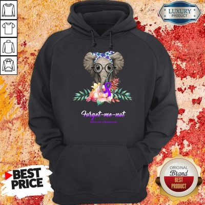 Funny Elephant Bow Lovely Forget Me Not Alzheimer's Awareness Hoodie