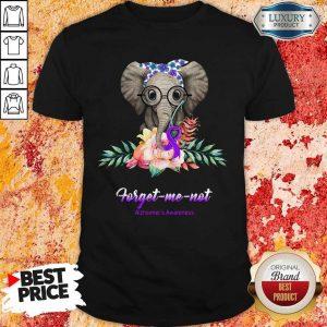 Funny Elephant Bow Lovely Forget Me Not Alzheimer's Awareness Shirt