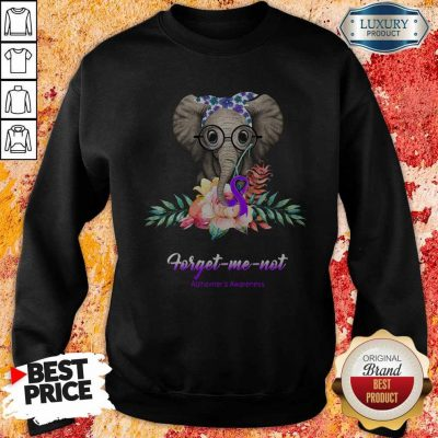 Funny Elephant Bow Lovely Forget Me Not Alzheimer's Awareness Sweatshirt