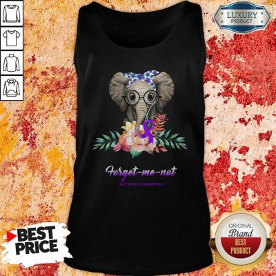 Funny Elephant Bow Lovely Forget Me Not Alzheimer's Awareness Tank Top