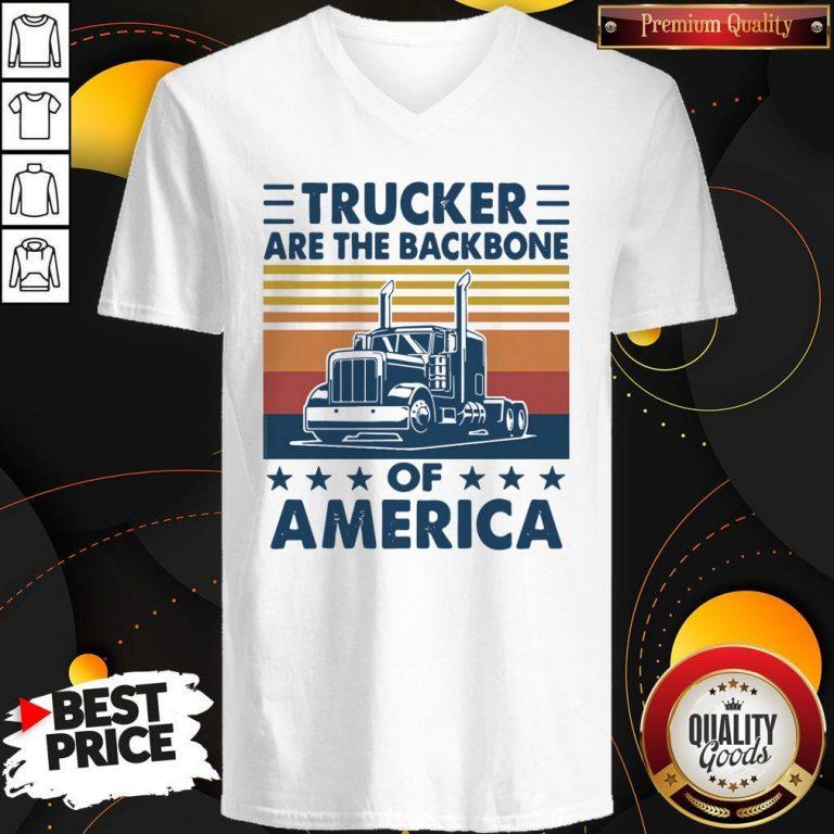 Funny Vintage Retro Trucker Are The Backbone Of America V-neck