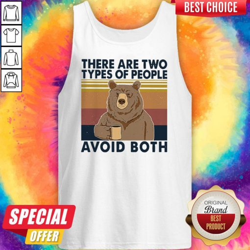 Nice Bear Drinking Coffee There Are Two Types Of People Avoid Both Vintage V-neck