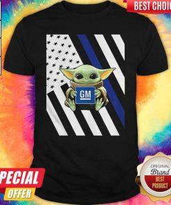 Official American Flag Baby Yoda Hug General Motors Shirt