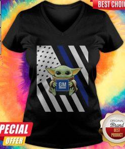 Official American Flag Baby Yoda Hug General Motors V-neck