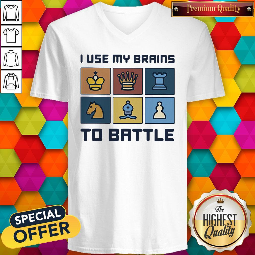 Official I Use My Brains To Battle Chess Vintage Retro V-neck