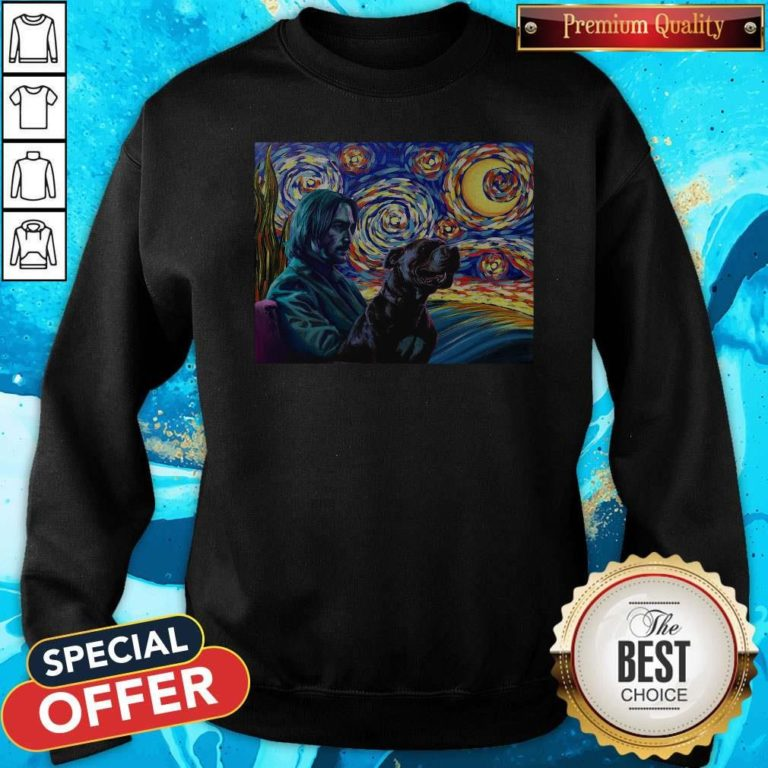 Official John Wick With Dog Art Sweatshirt - Design By Earstees.com