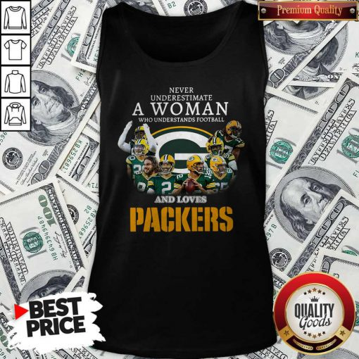 Official Never Underestimate A Woman Who Understands Baseball And Loves Packers Tank Top
