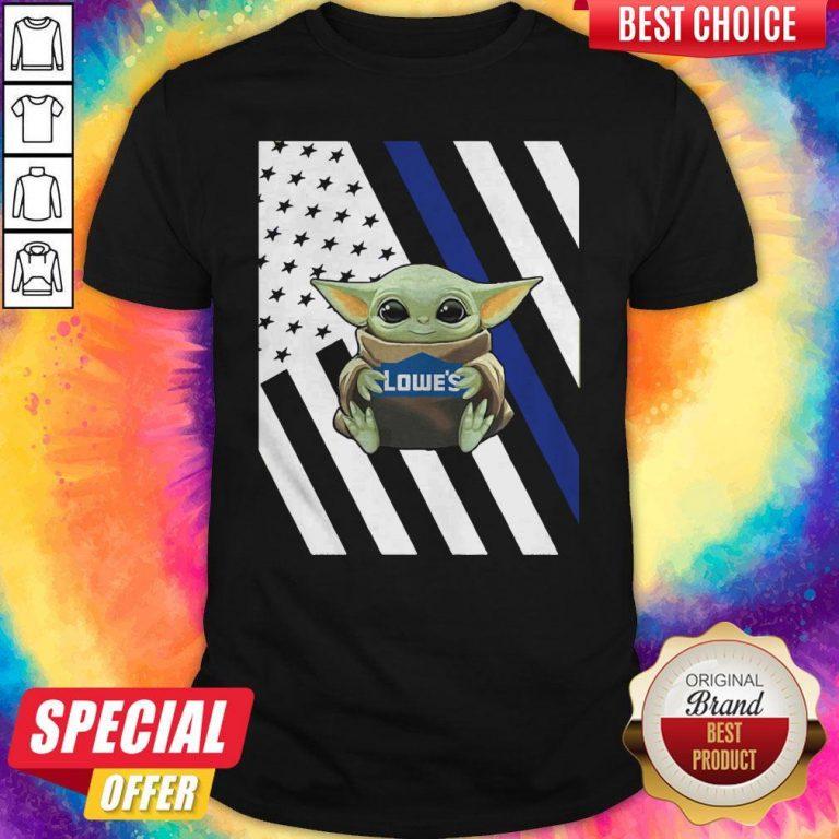 Original American Flag Baby Yoda Hug Lowe's Shirt