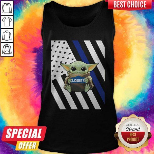 Original American Flag Baby Yoda Hug Lowe's Tank Top