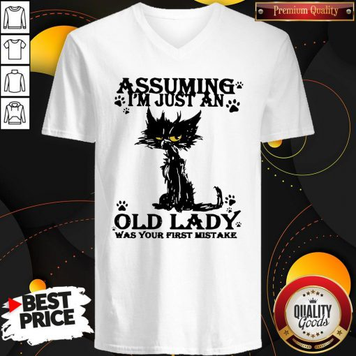 Original Black Cat Assuming I'm Just An Old Lady Was Your First Mistake V-neck