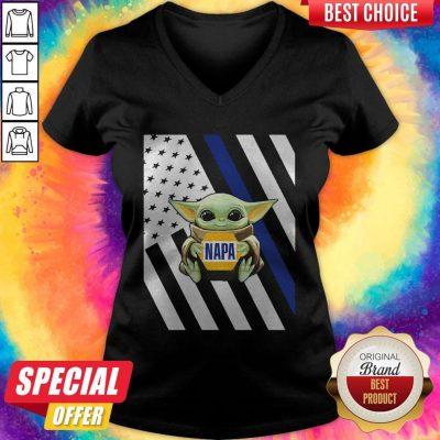 Perfect American Flag Baby Yoda Hug Napa V-neck