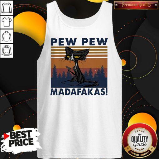 Perfect Black Cat Crazy Pew Pew Madafakas Vintage Tank Top