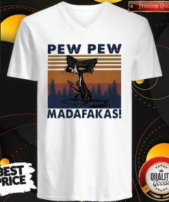 Perfect Black Cat Crazy Pew Pew Madafakas Vintage V-neck