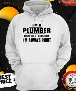 Perfect I'm A Plumber To Save Time Let's Just Assume I'm Always Right Hoodie