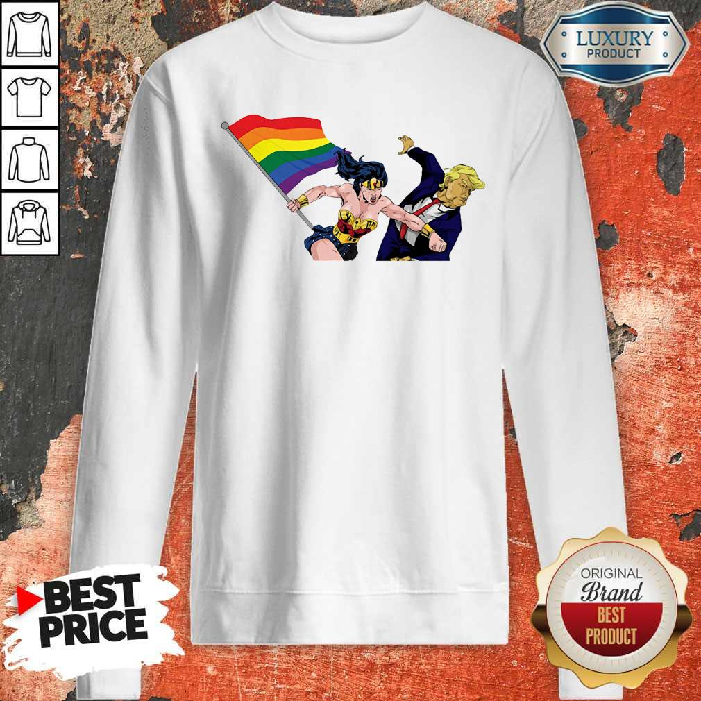 Perfect LGBT Wonder Woman Punch Trump Sweatshirt