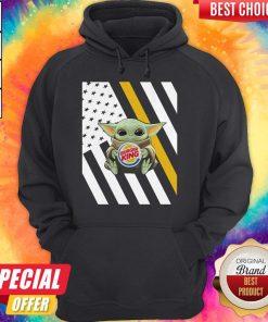 Premium American Flag Baby Yoda Hug Burger King Hoodie