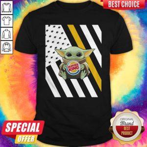Premium American Flag Baby Yoda Hug Burger King Shirt