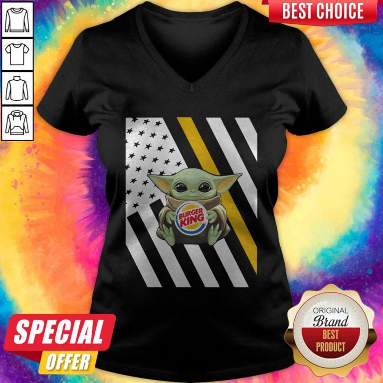 Premium American Flag Baby Yoda Hug Burger King V-neck