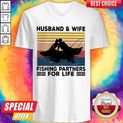 Premium Husband And Wife Fishing Partners For Life Vintage V-neck