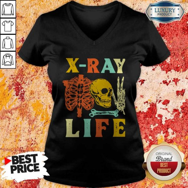 Premium Skeleton X-ray Life Vintage V-neck