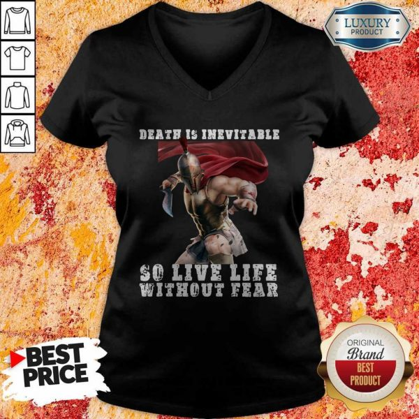 Premium Sparta Death Is Inevitable So Live Life Without Fear V-neck