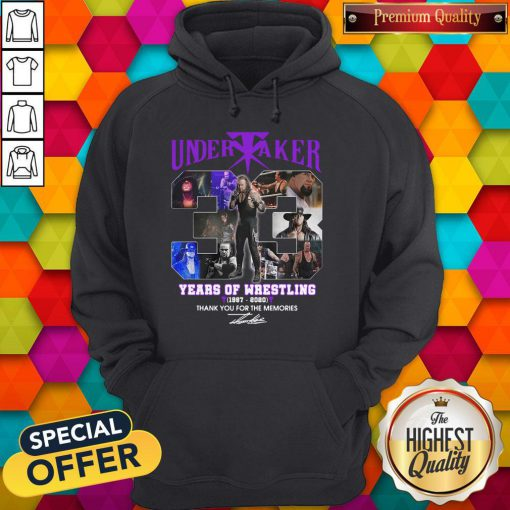Premium Undertaker 33 Years Of Wrestling 1987-2020 Thank You For The Memories Signature Hoodie