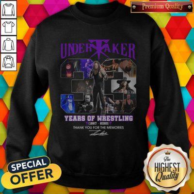 Premium Undertaker 33 Years Of Wrestling 1987-2020 Thank You For The Memories Signature Sweatshirt