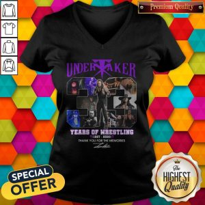 Premium Undertaker 33 Years Of Wrestling 1987-2020 Thank You For The Memories Signature V-neck