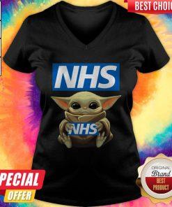 Pretty Baby Yoda Hug NHS V-neck