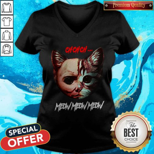 Top Jason Voorhees Cat Ch Ch Ch Meow Meow Meow V-neck