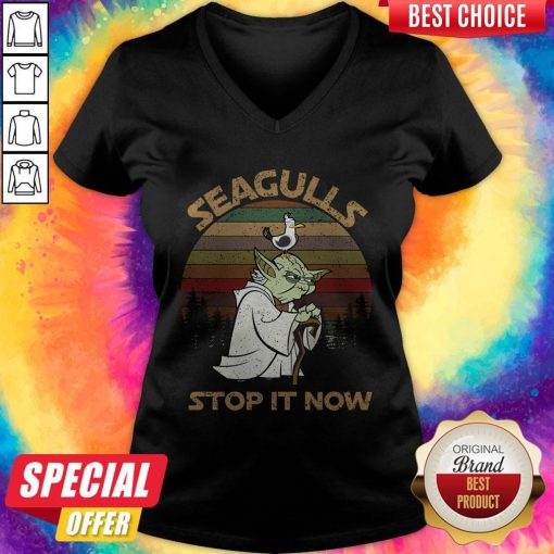 Top Yoda Seagulls Stop It Now Vintage V-neck