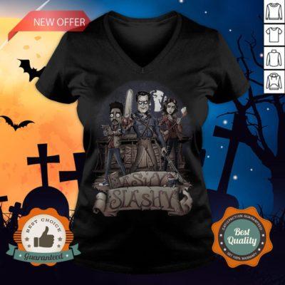 Ashy Siashy Wood House Lady And Man Moonlight Halloween V-neck - Design By Earstees.com