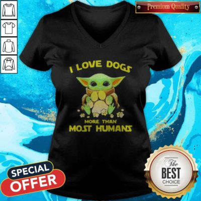 Baby Yoda I Love Paw Dogs More Than Most Humans V-neck - Design By Earstees.com