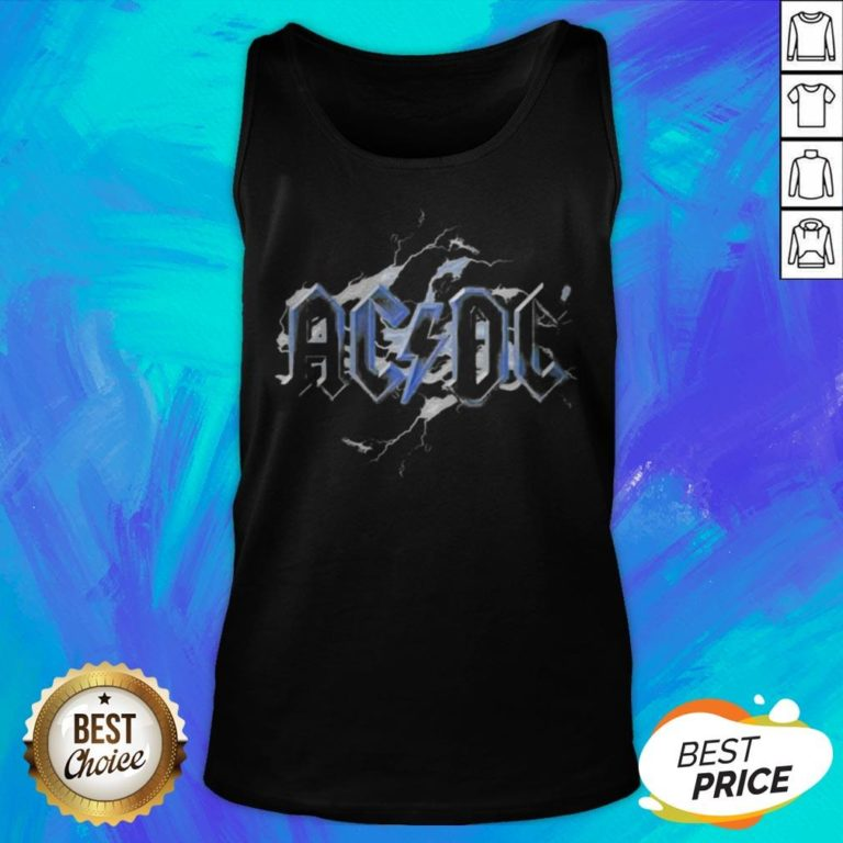 Perfect ACDC Band Lightning Bolt Back Tank Top - Design By Earstees.com