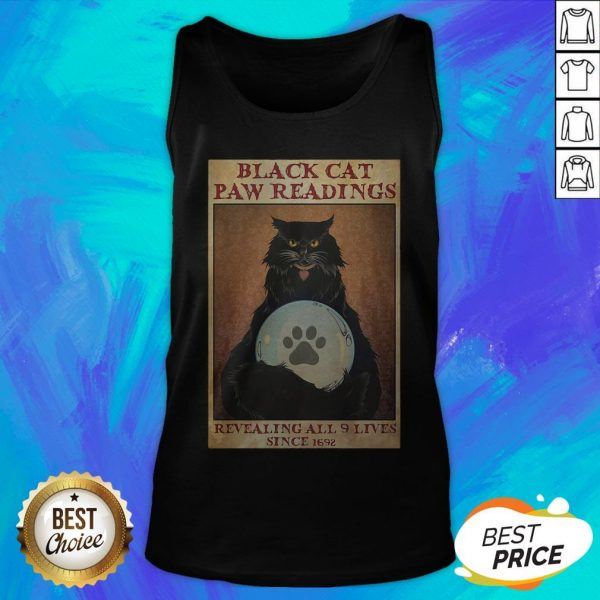 Black Cat Paw Reading Revealing All 9 Lives Since 1692 Tank Top