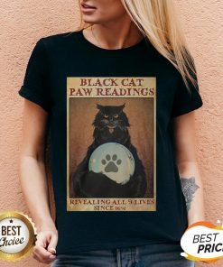 Black Cat Paw Reading Revealing All 9 Lives Since 1692 V-neck