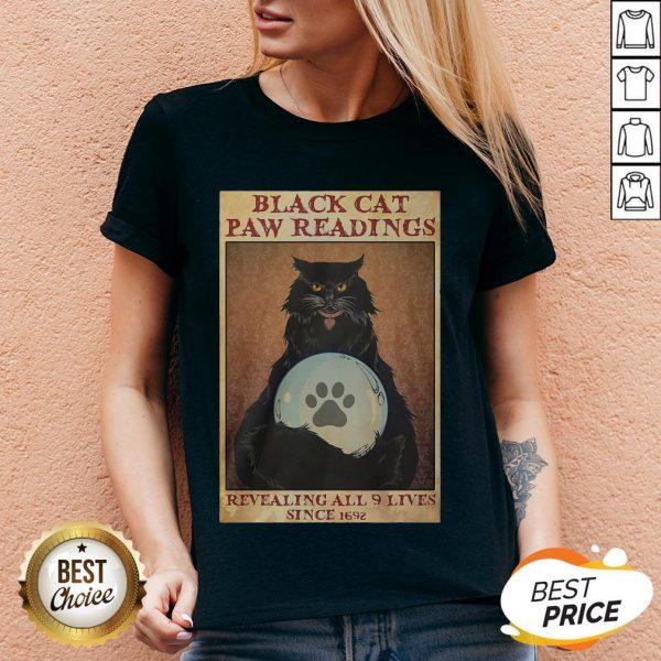 Black Cat Paw Reading Revealing All 9 Lives Since 1692 V-neck