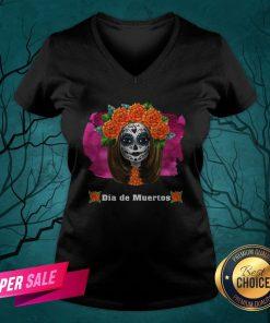 Day Of Dead Dia De Muertos Sugar Skull Girl V-neck