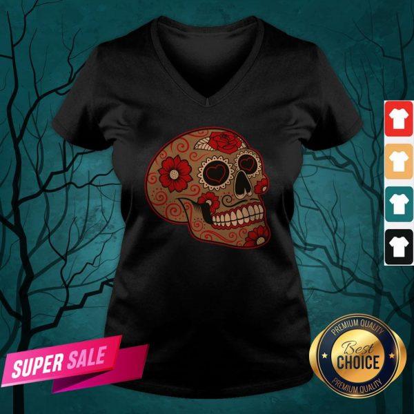 Dia De Los Muertos Sugar Skull In Mexican V-neck