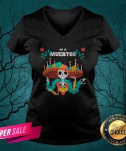 Dia De Muertos Day Dead Skeleton In Mexican V-neck