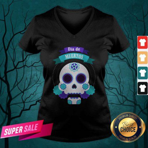 Dia De Muertos Day Of Dead Sugar Skull V-neck