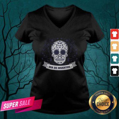 Dia De Muertos Day Of Dead Sugar Skull Vintage V-neck