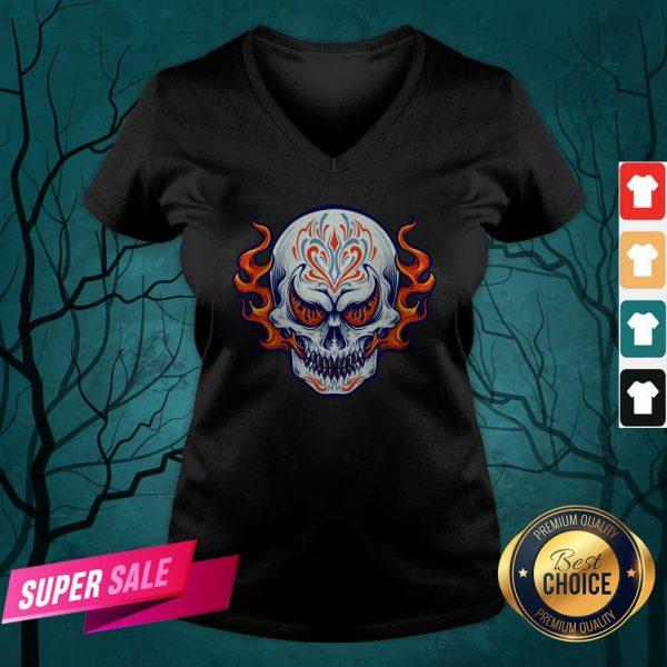 Fire Sugar Skull Dia De Muertos Day Of Dead V-neck
